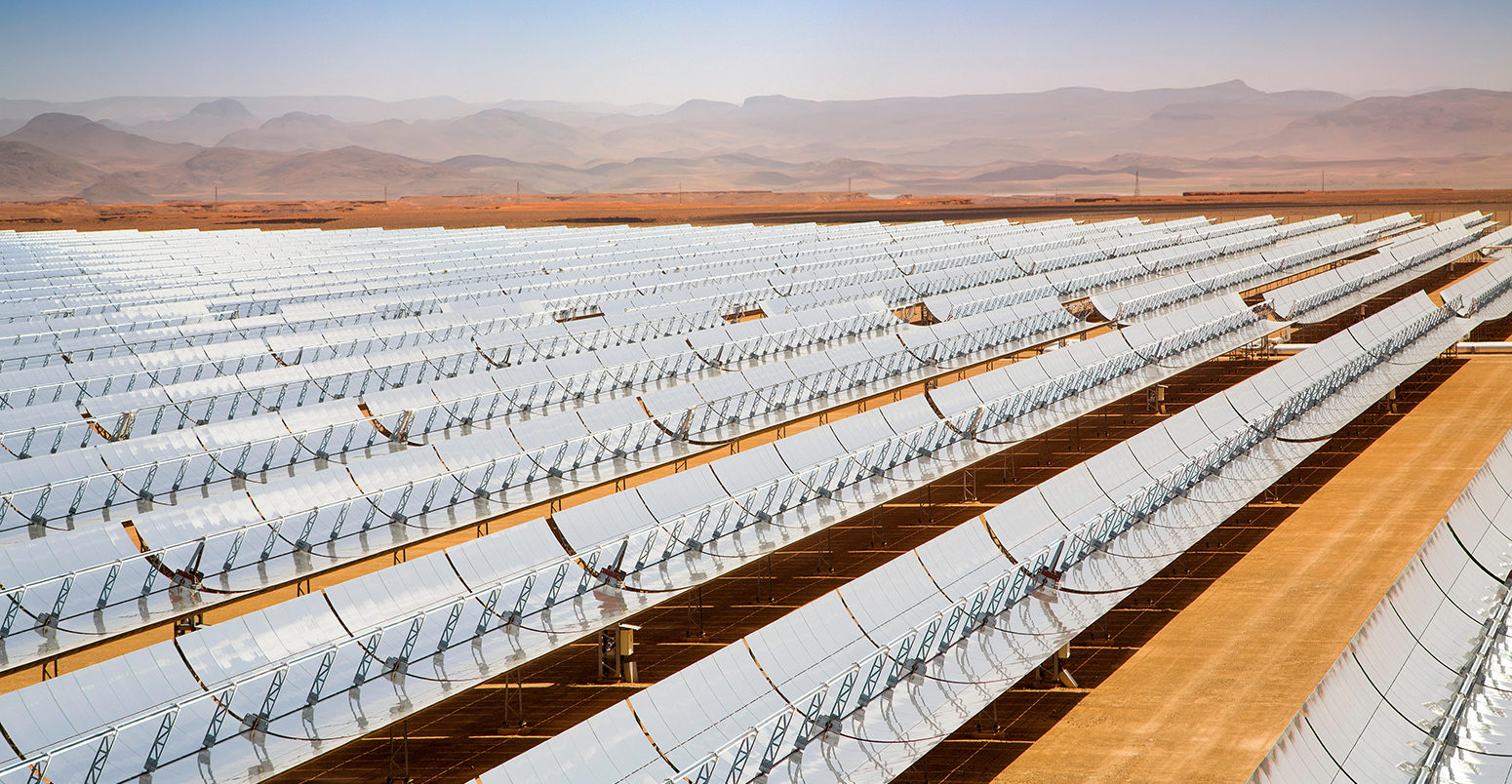 Solar thermal sustainable energy, Noor Ouarzazate Concentrated Solar Power Station Complex. Morocco, Maghreb North Africa