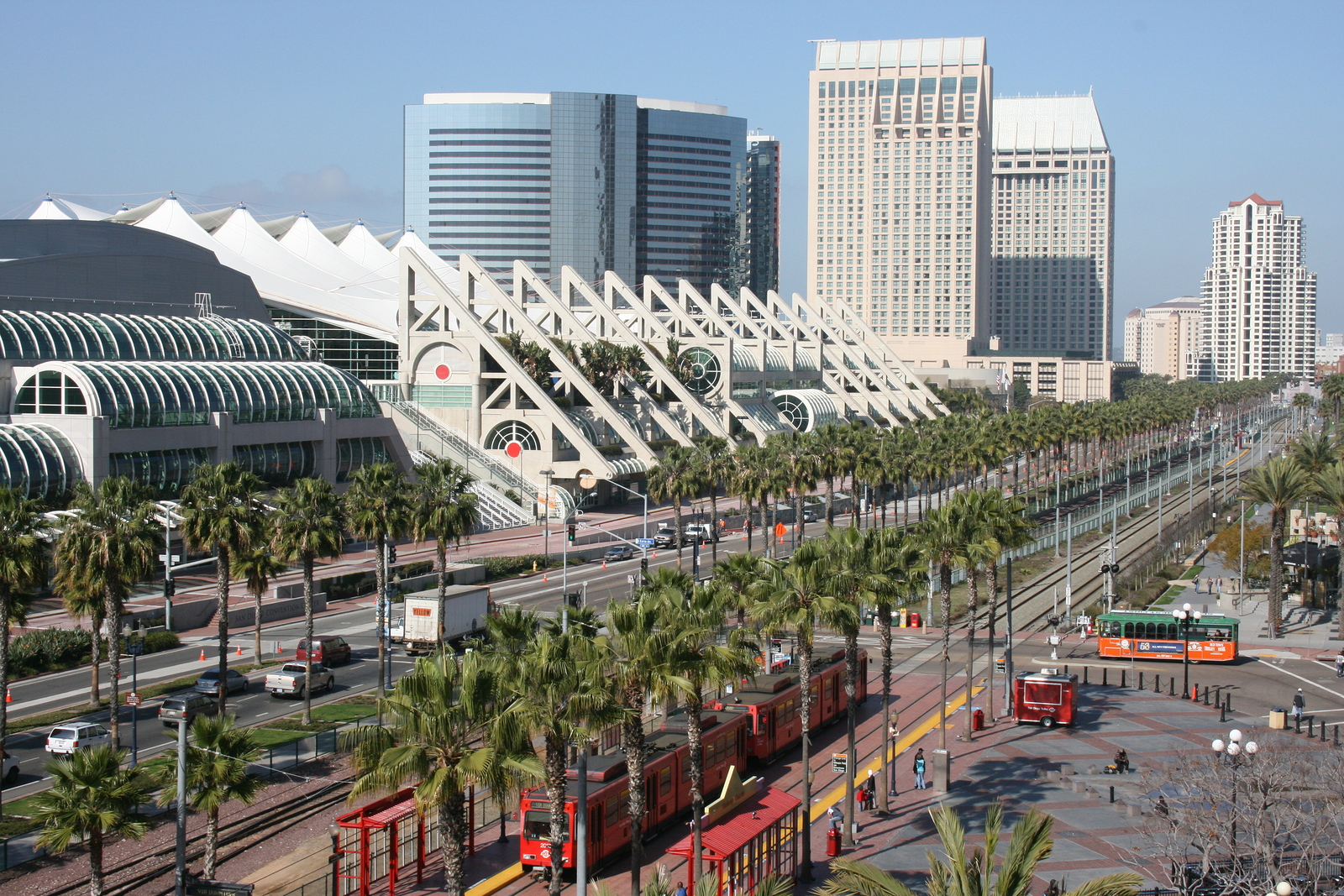 Downtown San Diego, with a view of the convention center. The city is set to launch an ambitious $30 million smart city project to outfit 3,200 streetlights with a buffet of sensors. (SHUTTERSTOCK)