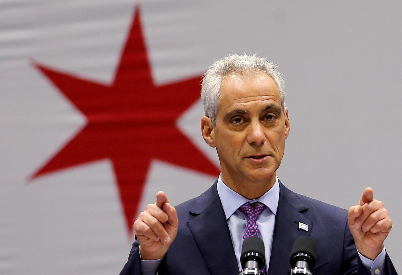 File photo of Chicago Mayor Rahm Emanuel delivering a speech in Chicago