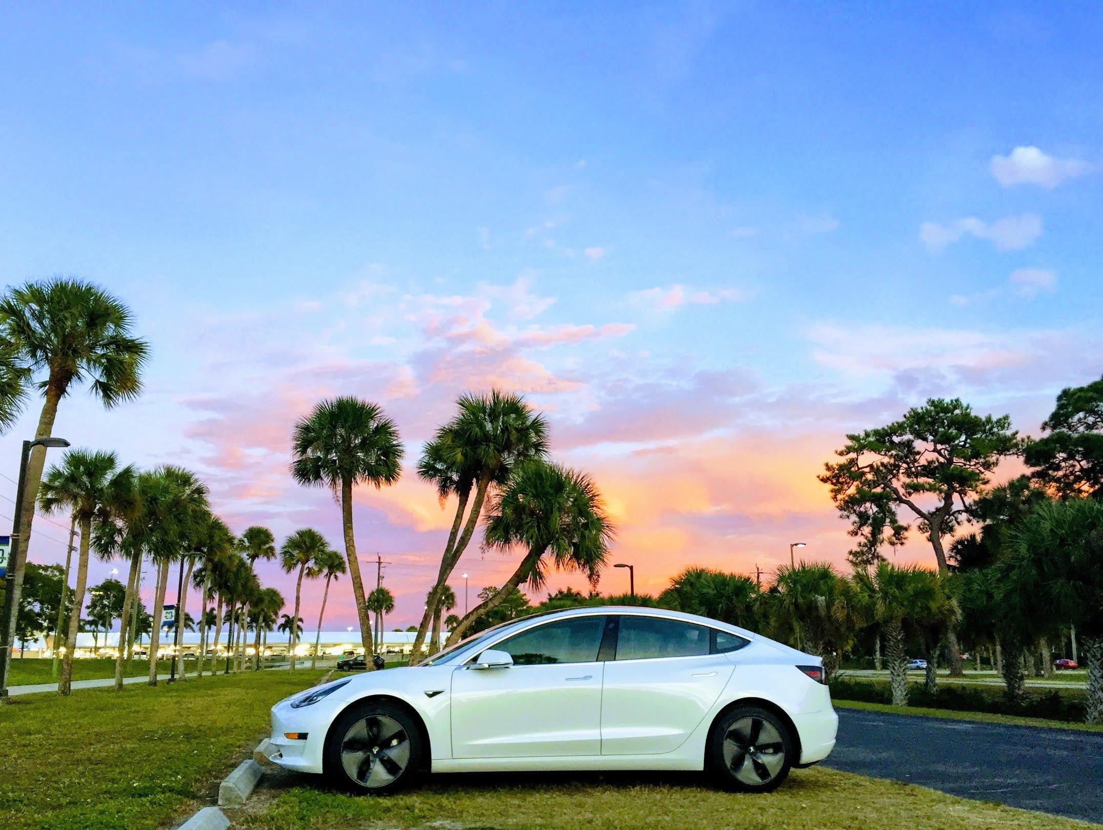 Tesla-Model-3-White-Florida-Sunset-New-College