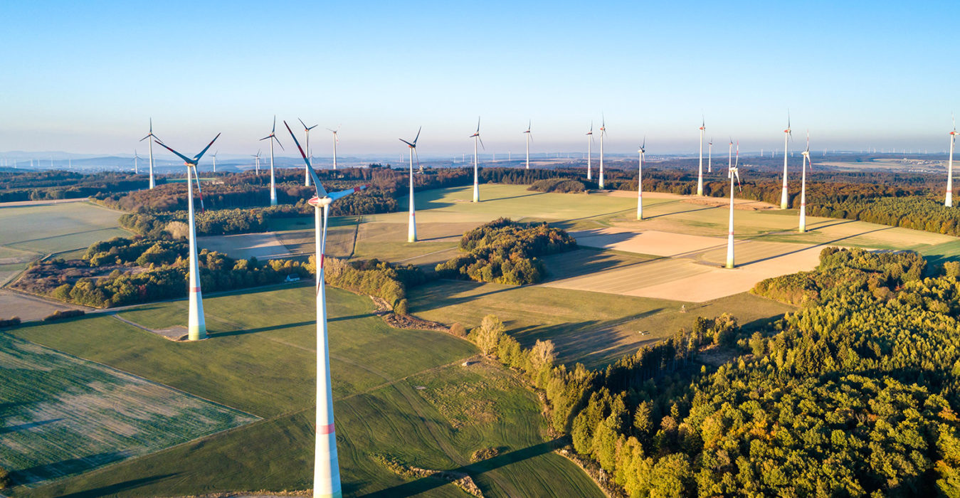 Aerial view of a wind farm in Germany